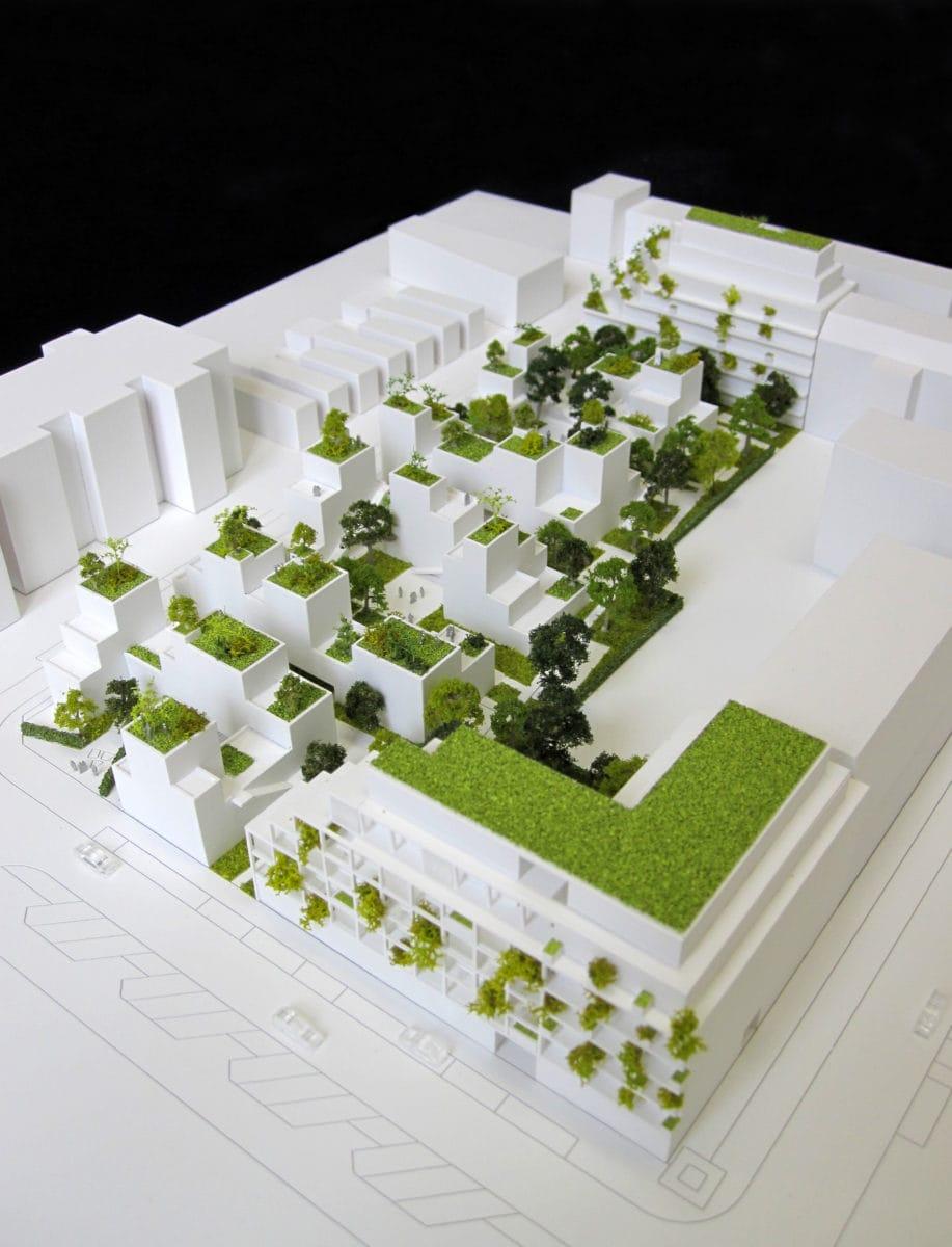 maquette blanche de Noue Caillet à Bondy par Maud Caubet architecte