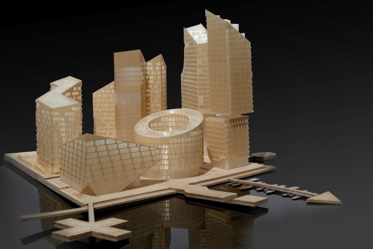 Maquette de concours architecture Marievik 15 Stockholm par Louis Paillard au 1/500ème