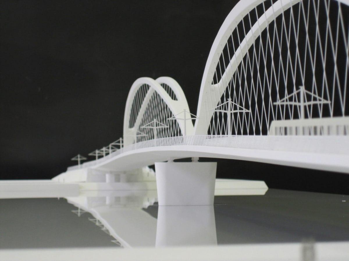 Maquette d'urbanisme architecture du pont de Strasbourg par Marc Barani au 1/200ème