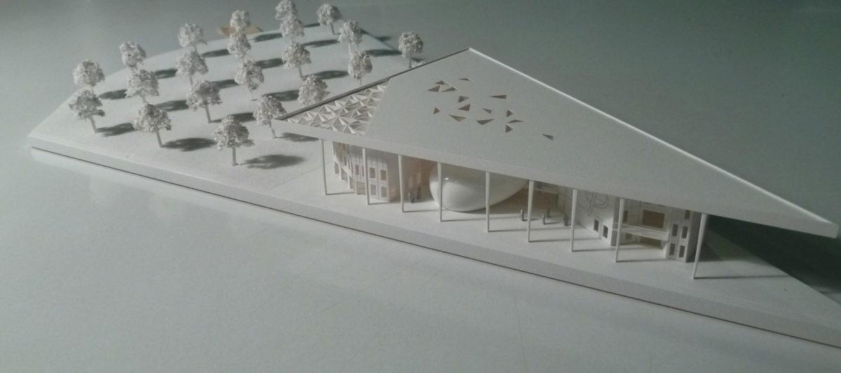 Maquette de concours architecture de l'université de Troy par Fevre et Gaucher au 1/500ème