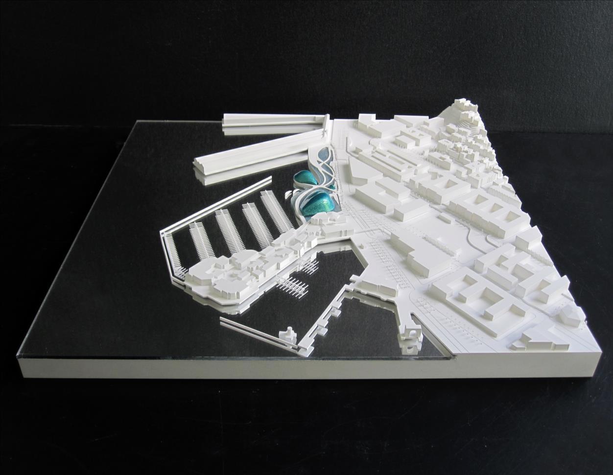 maquette d'urbanisme blanche de l'ecotarium à San Francisco, XTU architectes, 1/156