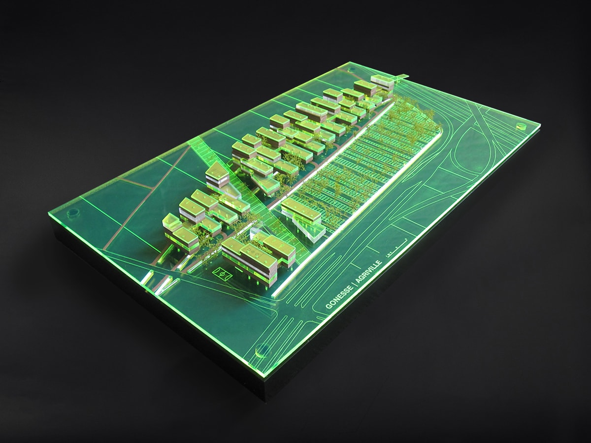 maquette d'urbanisme de l'écoquartier de Gonesse par XTU architectes à l'échelle 1/2000ème