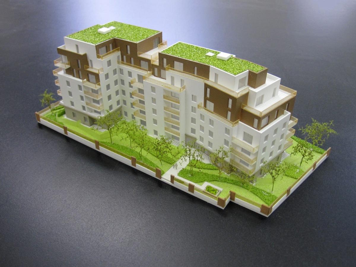 maquette de promotion pour des logements à Rueil Malmaison par Cussac architectes