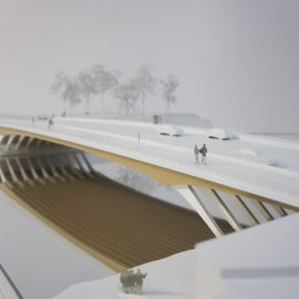 Maquette d'urbanisme du pont de Ulm par Exploration architecture