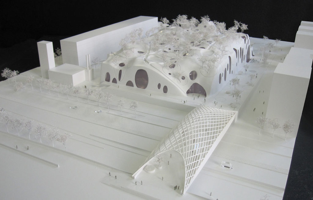 maquette de la piscine pour les jeux olympiques de 2024 par MVDRV et Explorations architecture