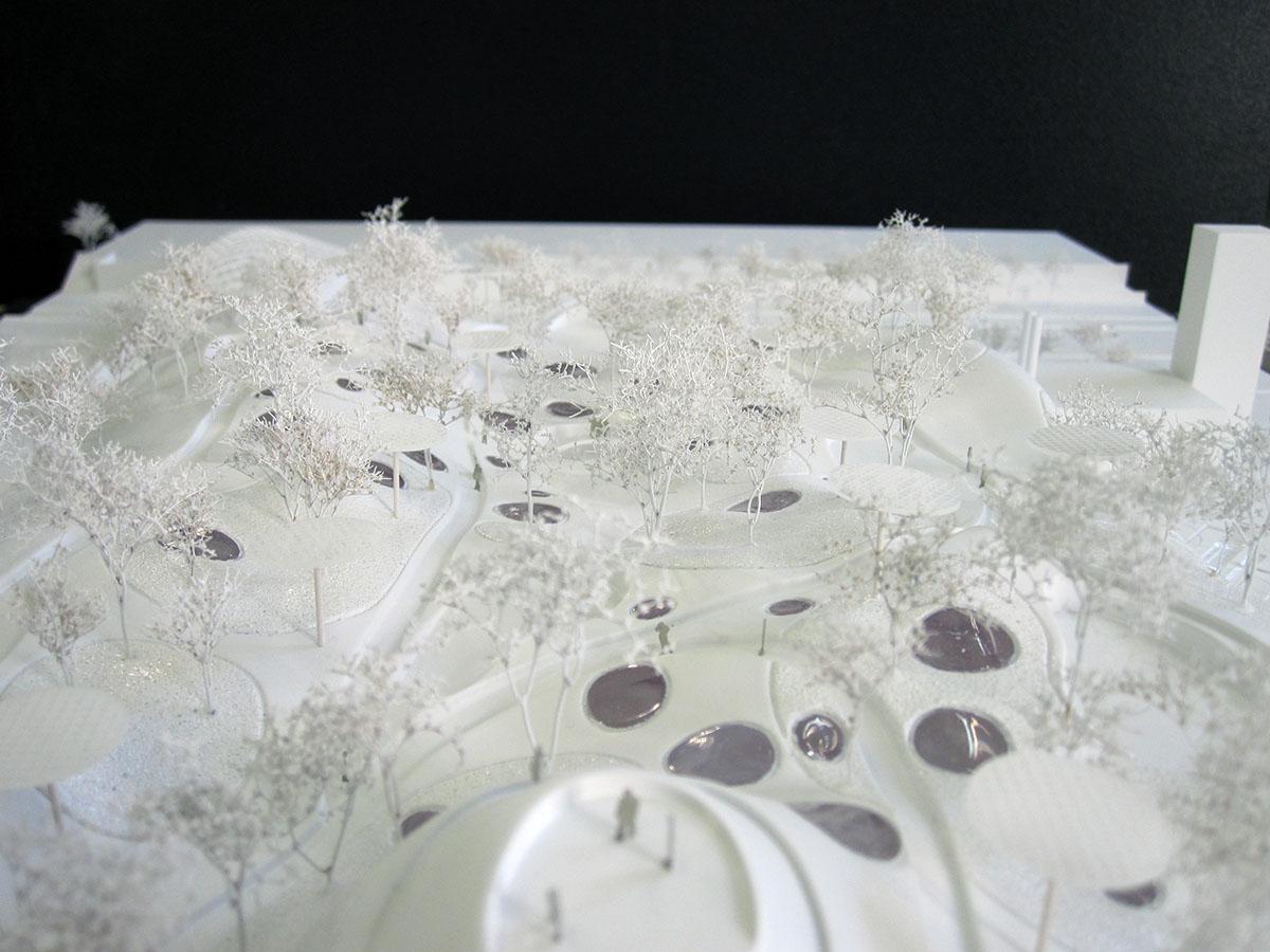 Toiture de la maquette de la piscine olympique des jeux 2024 à Paris