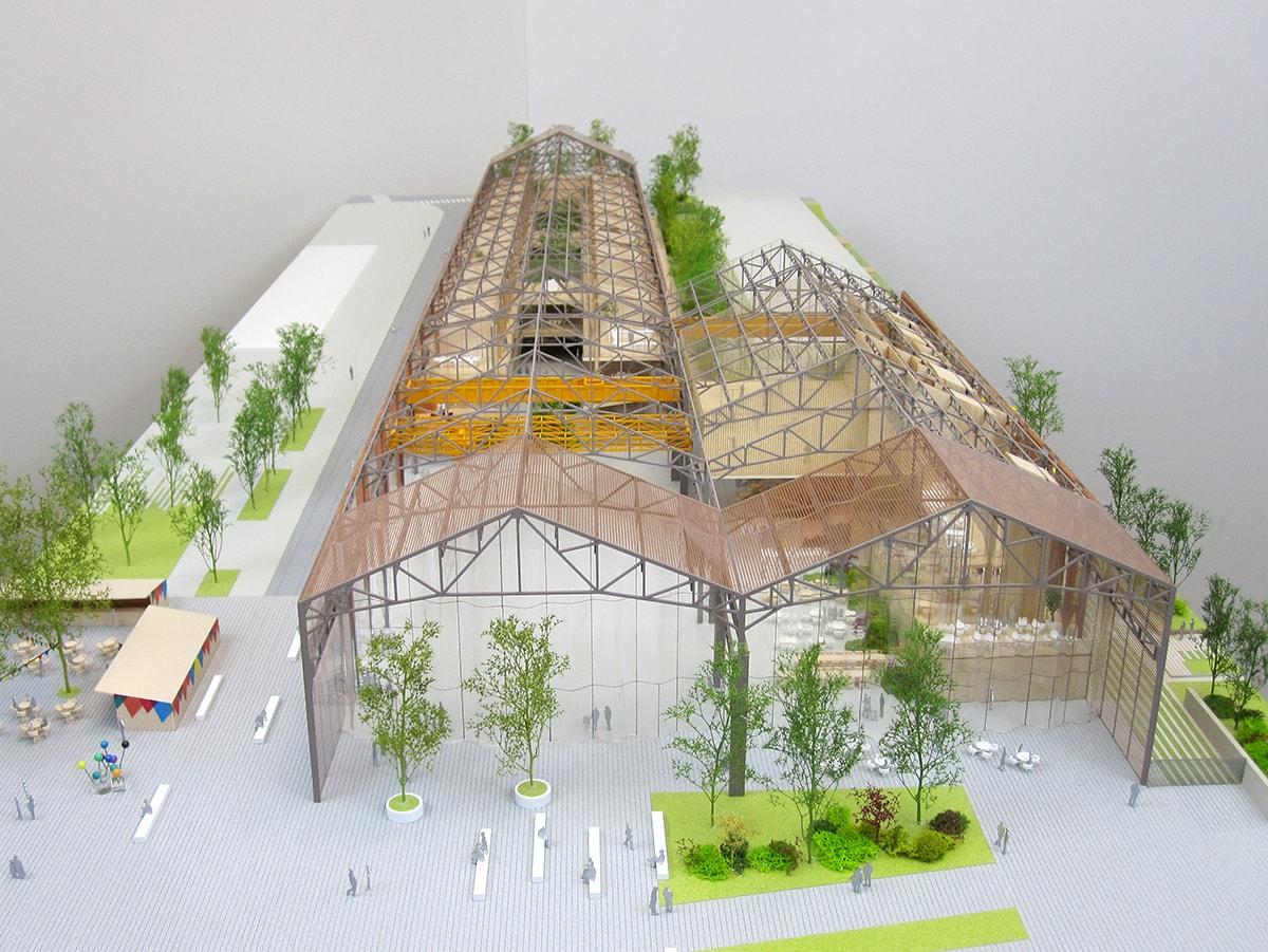 maquette de la grande halle de Pantin avec toiture démontable