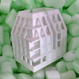 maquette d'architecture dans des chips de polystyrène