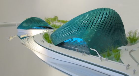 maquette en couleur du Bay Ecotarium à San Francisco par XTU architects au 1/157ème