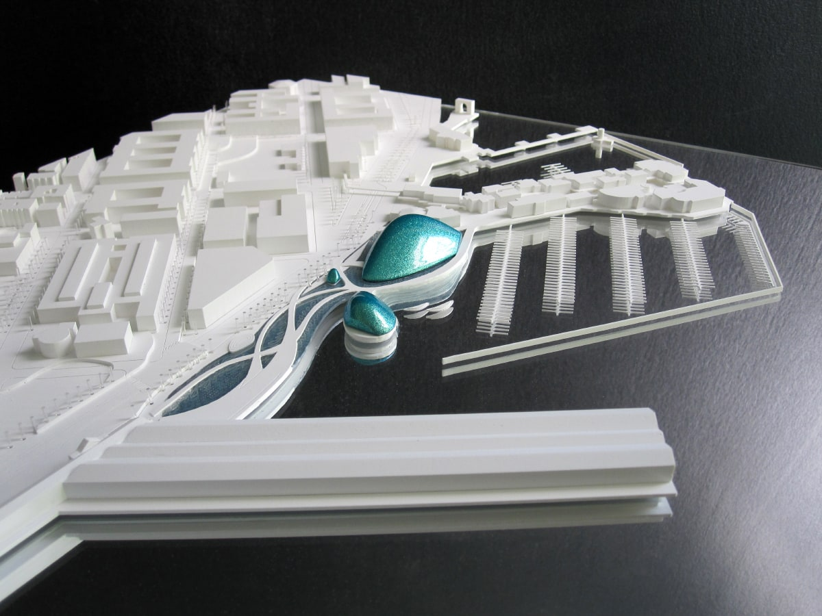 maquette d'urbanisme blanche de l'ecotarium à San Francisco par XTU architectes au 1/2000ème